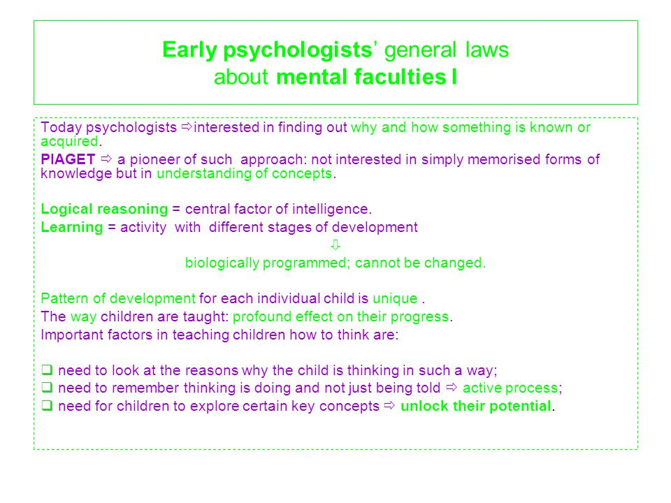 Early psychologists' general laws about mental faculties I