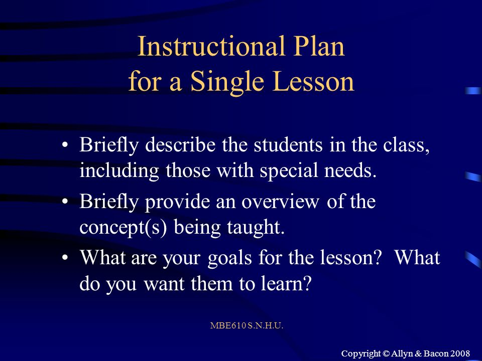 Instructional Plan for a Single Lesson