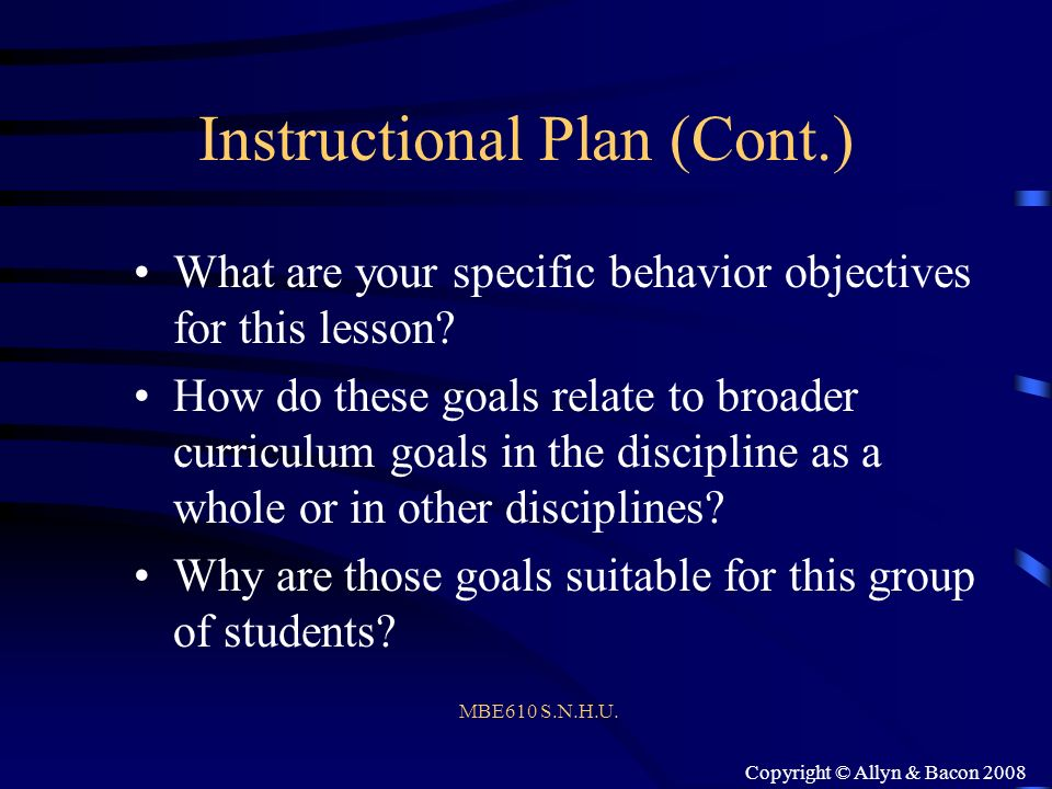 Instructional Plan (Cont.)