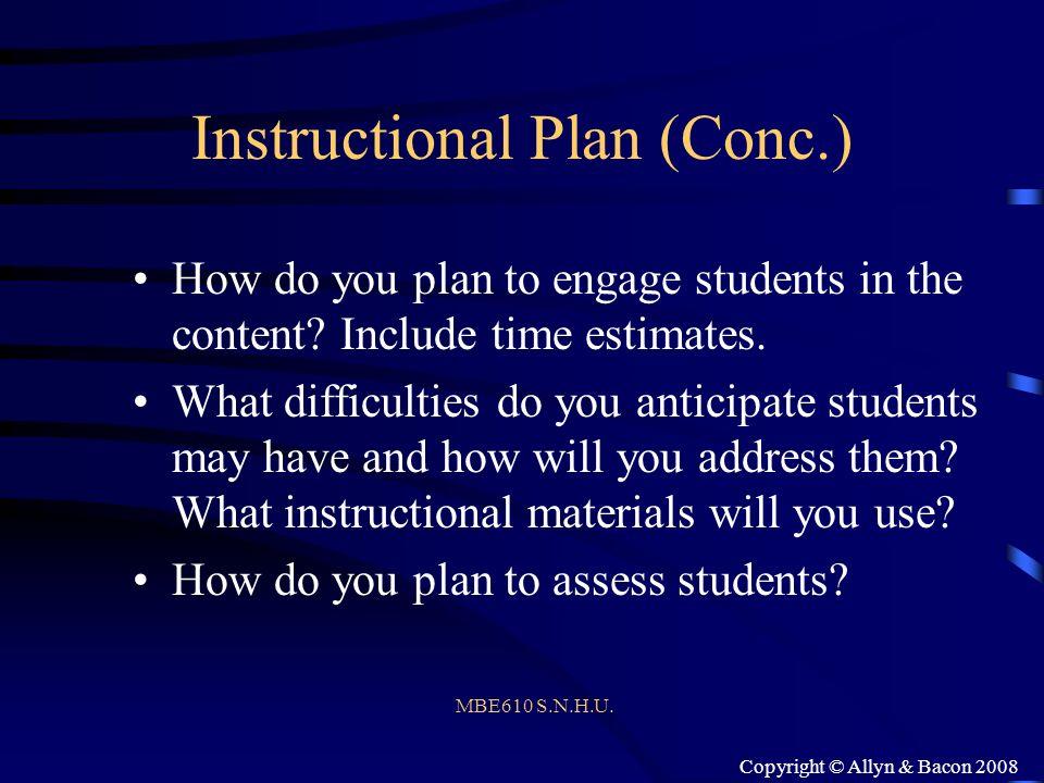 Instructional Plan (Conc.)
