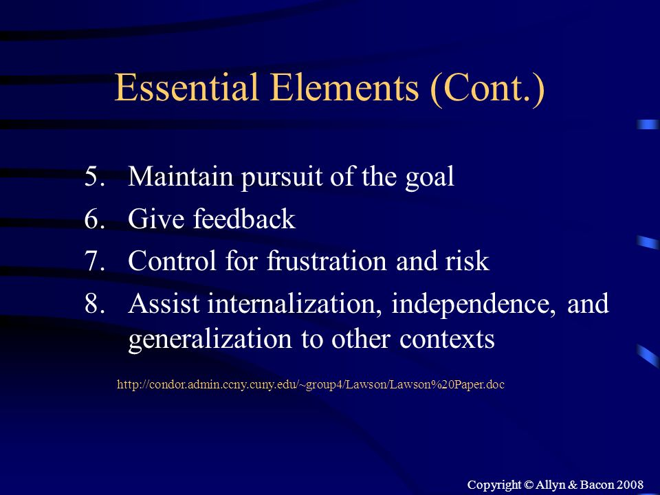 Essential Elements (Cont.)