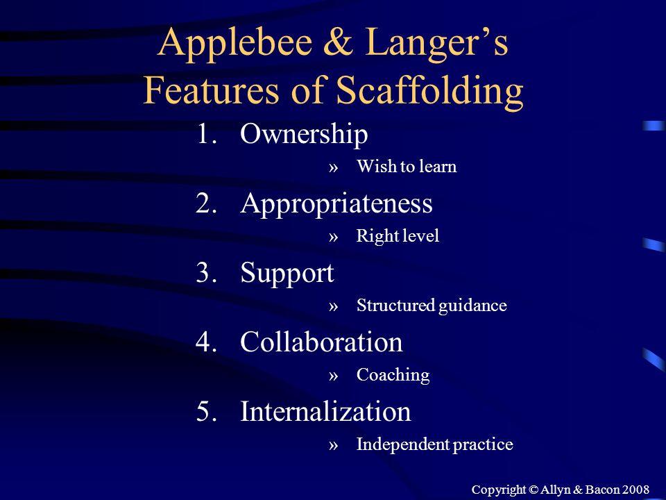 Applebee & Langer's Features of Scaffolding