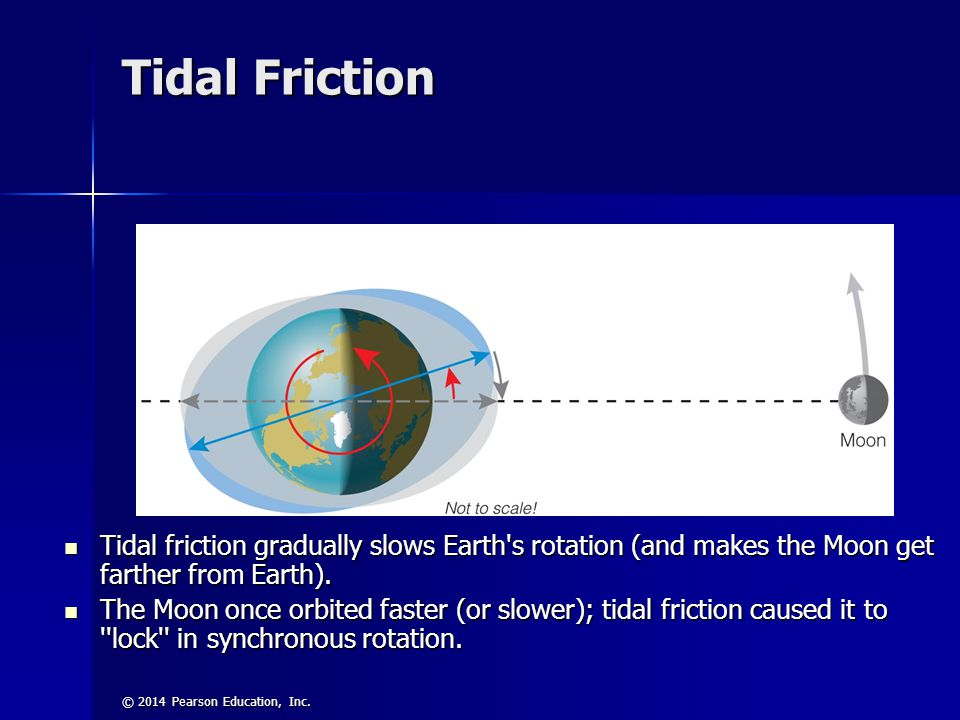 Tidal Friction Tidal friction gradually slows Earth s rotation (and makes the Moon get farther from Earth).