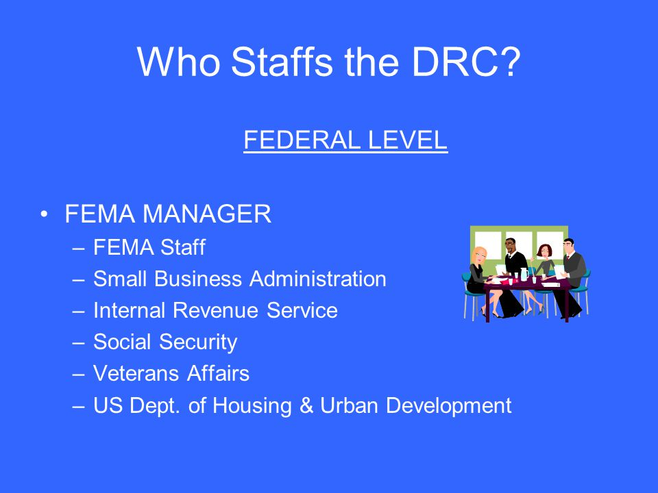Who Staffs the DRC FEDERAL LEVEL FEMA MANAGER FEMA Staff