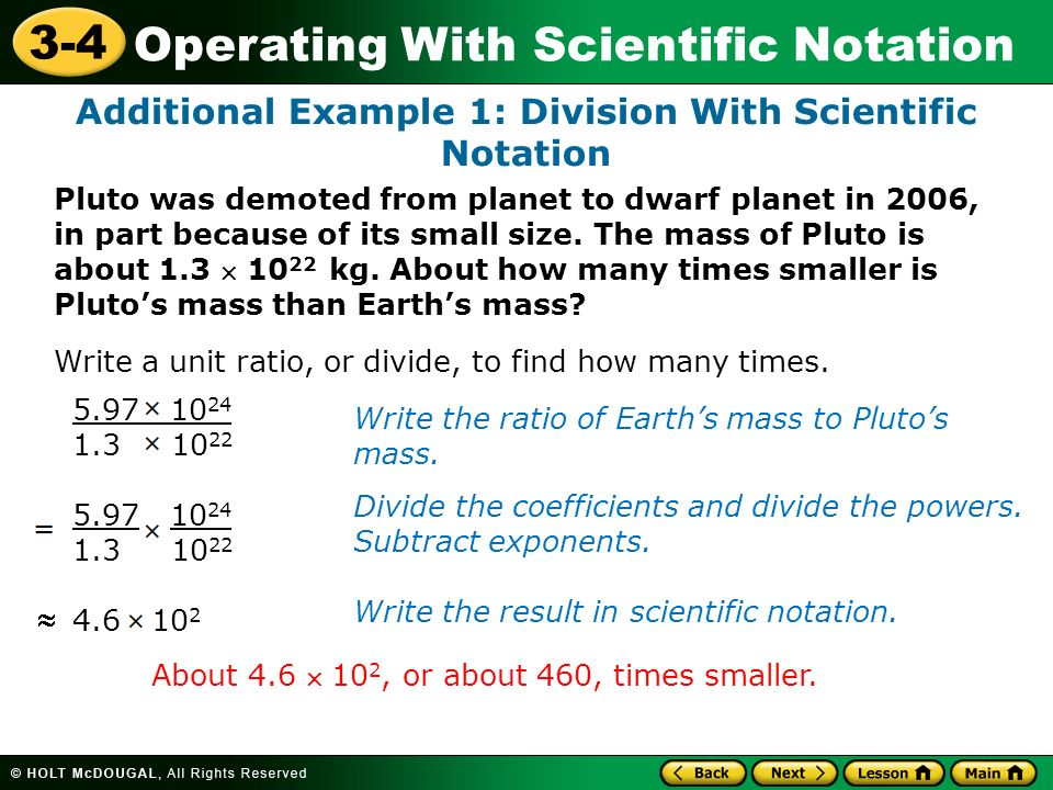 Additional Example 1: Division With Scientific Notation