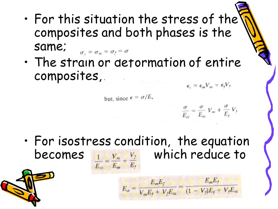 For this situation the stress of the composites and both phases is the same;