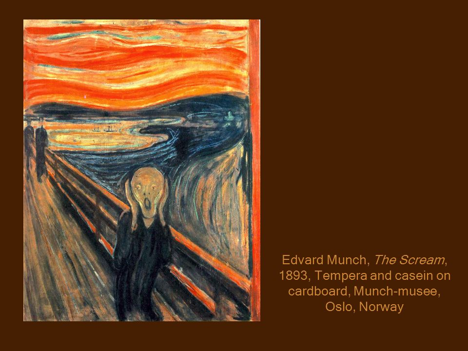Edvard Munch, The Scream, 1893, Tempera and casein on cardboard, Munch-musee, Oslo, Norway