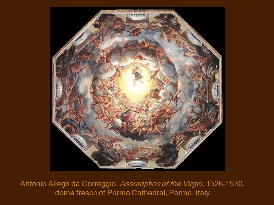 Antonio Allegri da Correggio, Assumption of the Virgin, 1526-1530, dome fresco of Parma Cathedral, Parma, Italy