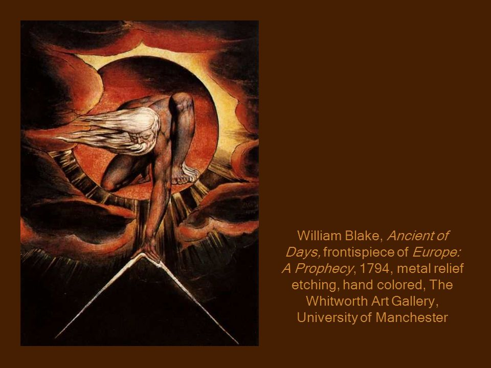 William Blake, Ancient of Days, frontispiece of Europe: A Prophecy, 1794, metal relief etching, hand colored, The Whitworth Art Gallery, University of Manchester