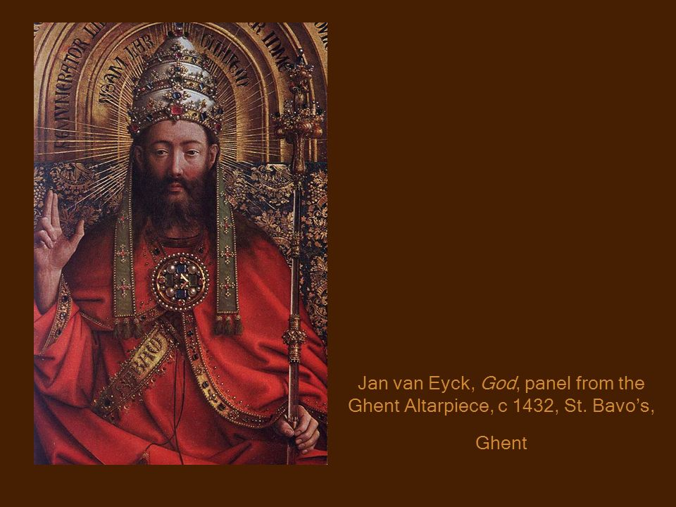 Jan van Eyck, God, panel from the Ghent Altarpiece, c 1432, St