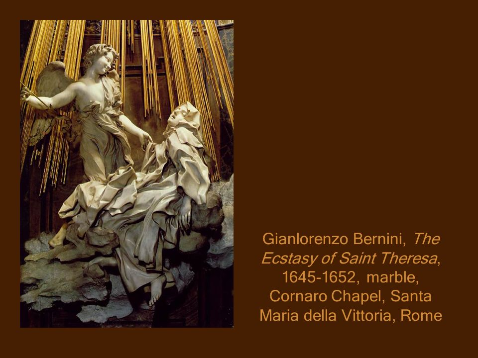 Gianlorenzo Bernini, The Ecstasy of Saint Theresa, 1645-1652, marble, Cornaro Chapel, Santa Maria della Vittoria, Rome