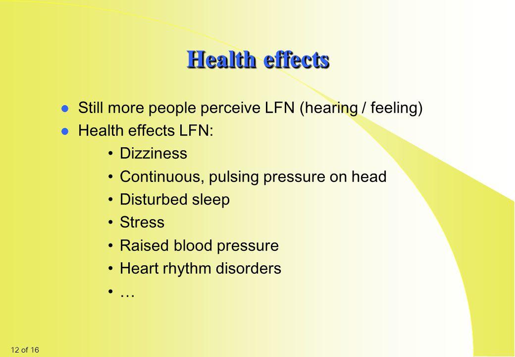 Health effects Still more people perceive LFN (hearing / feeling)