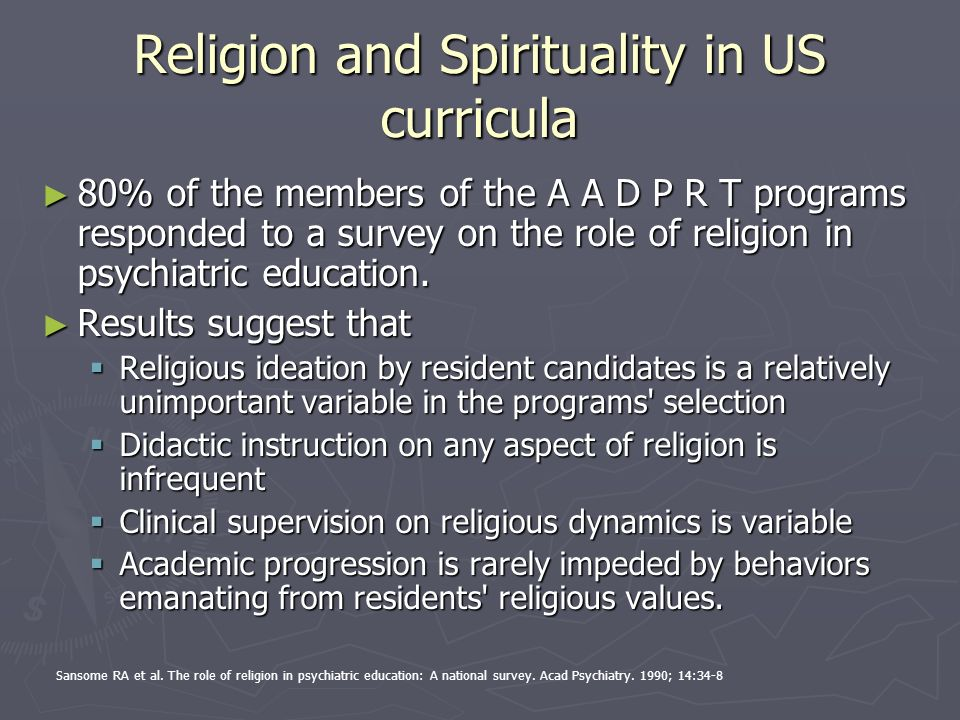Religion and Spirituality in US curricula