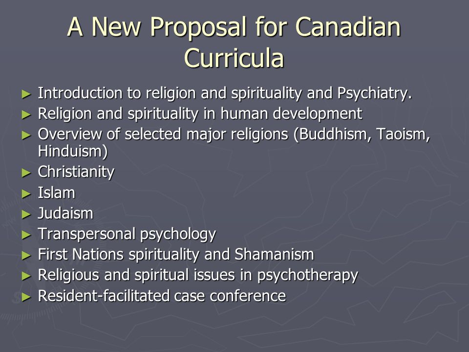 A New Proposal for Canadian Curricula
