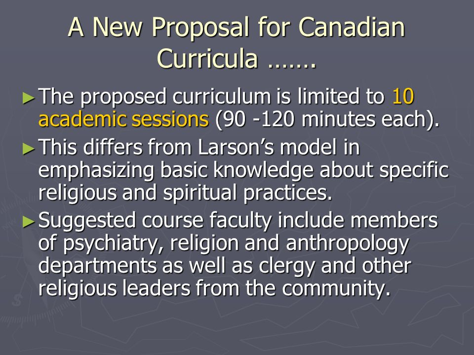A New Proposal for Canadian Curricula …….