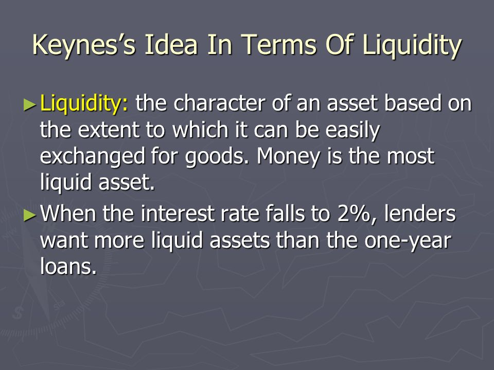 Keynes's Idea In Terms Of Liquidity