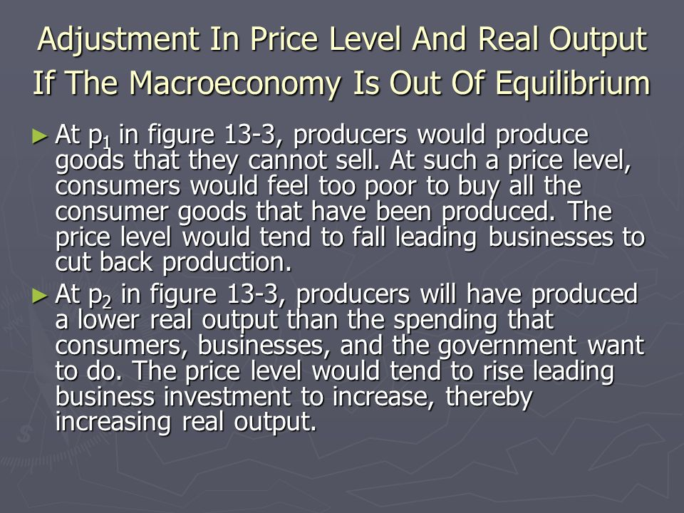 Adjustment In Price Level And Real Output If The Macroeconomy Is Out Of Equilibrium