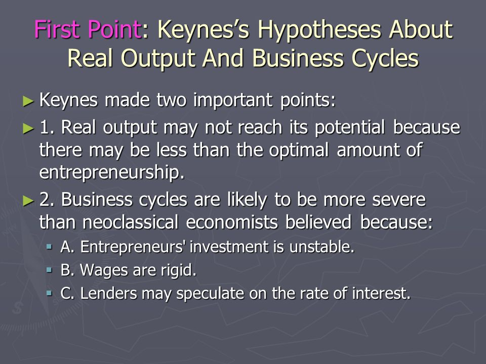 First Point: Keynes's Hypotheses About Real Output And Business Cycles