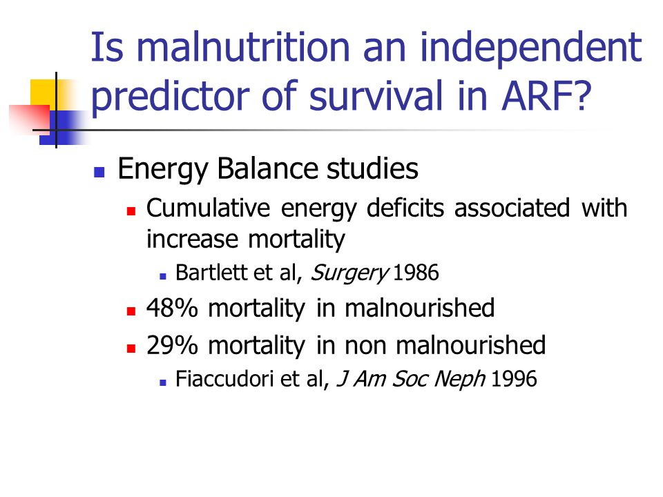 Is malnutrition an independent predictor of survival in ARF