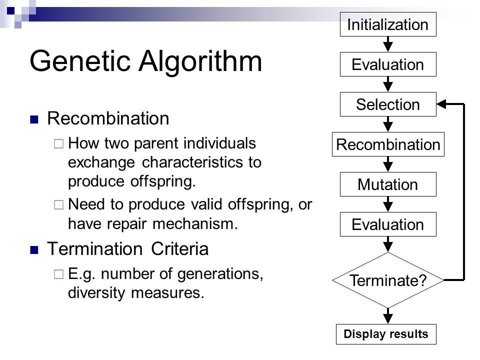 Genetic Algorithm Recombination Termination Criteria Initialization