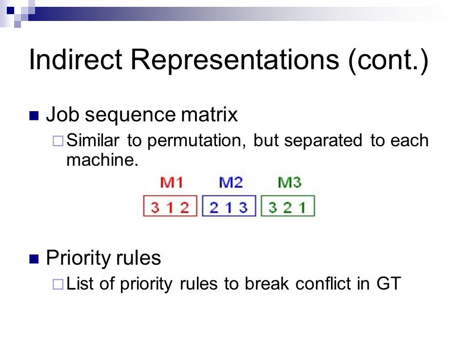 Indirect Representations (cont.)