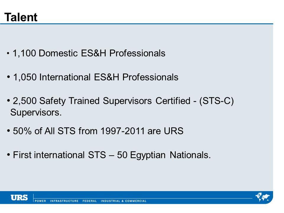Talent 1,050 International ES&H Professionals