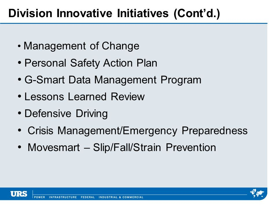 Division Innovative Initiatives (Cont'd.)