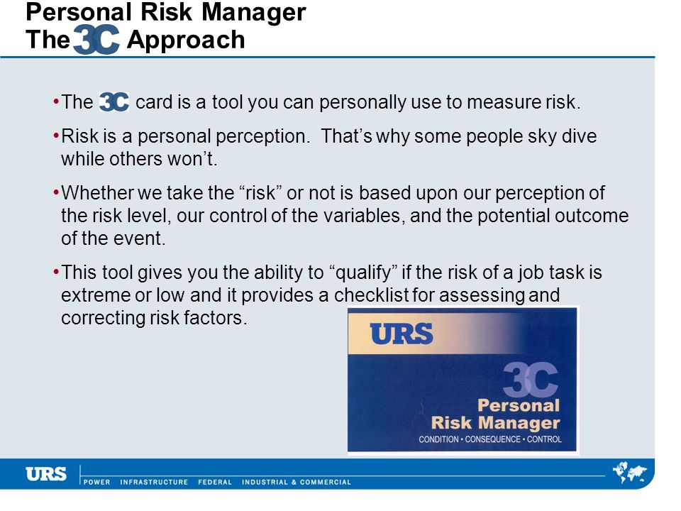 Personal Risk Manager The Approach