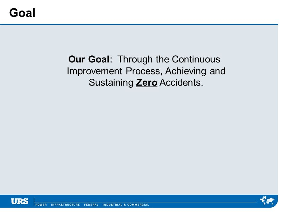 Goal Our Goal: Through the Continuous Improvement Process, Achieving and Sustaining Zero Accidents.