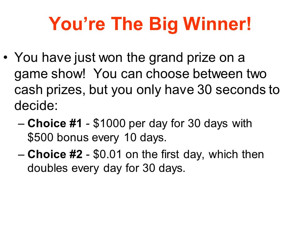 You're The Big Winner!