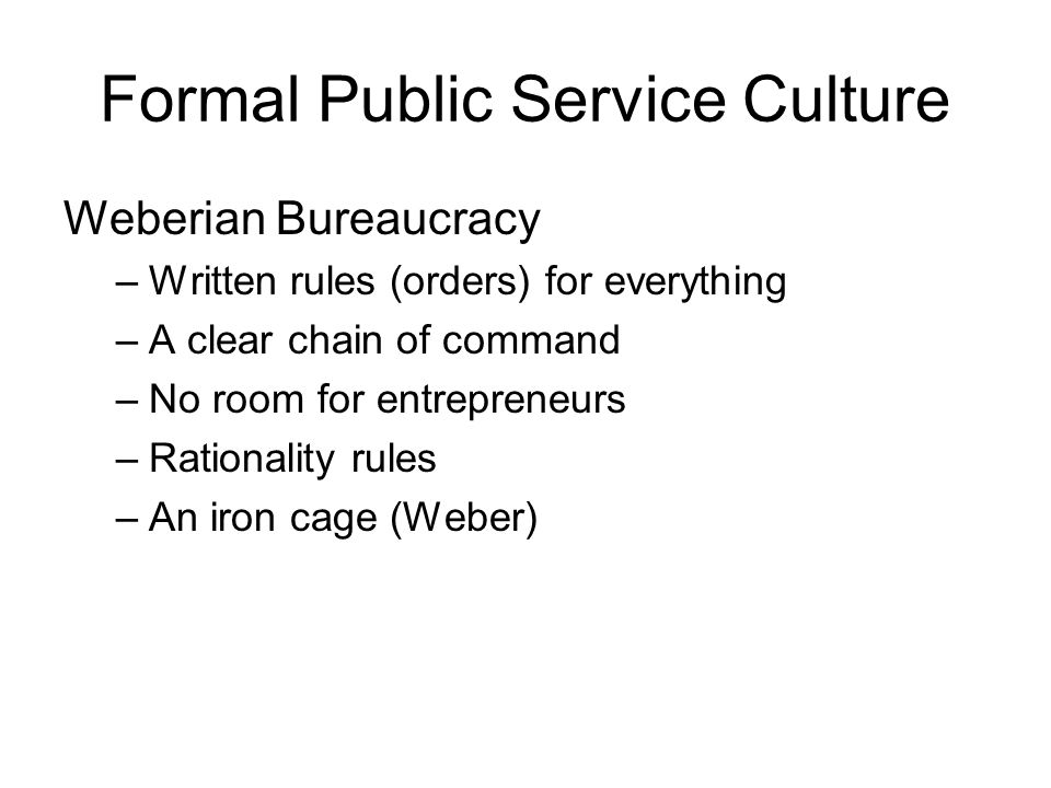 Formal Public Service Culture