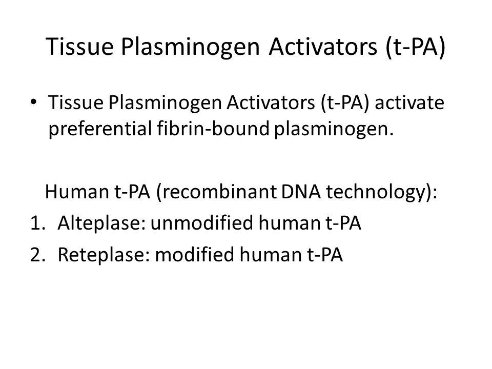 Tissue Plasminogen Activators (t-PA)
