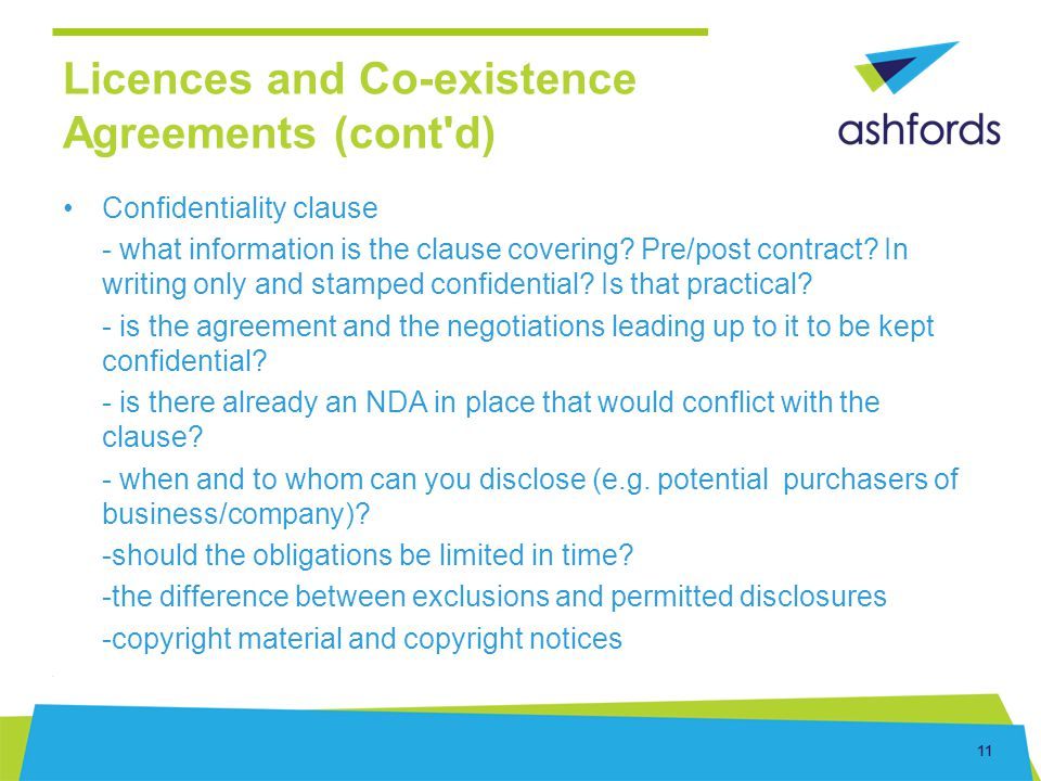 Licences and Co-existence Agreements (cont d)