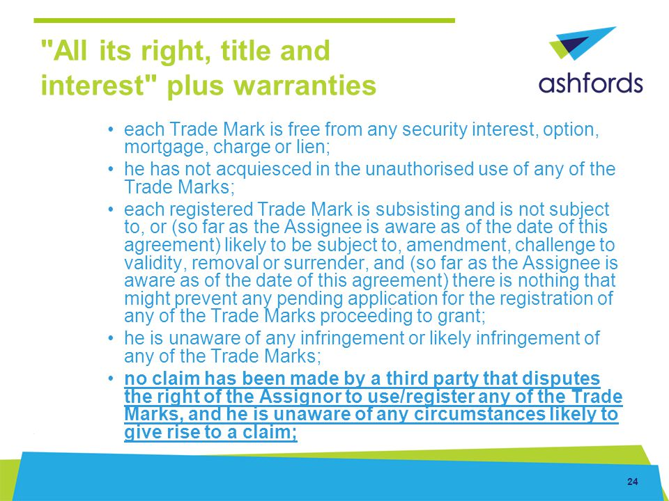 All its right, title and interest plus warranties