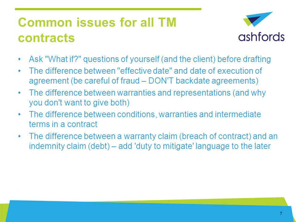 Common issues for all TM contracts
