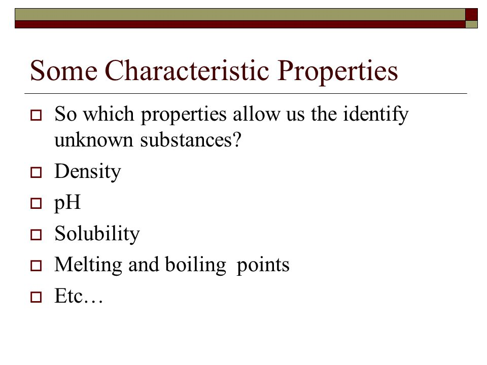 Some Characteristic Properties