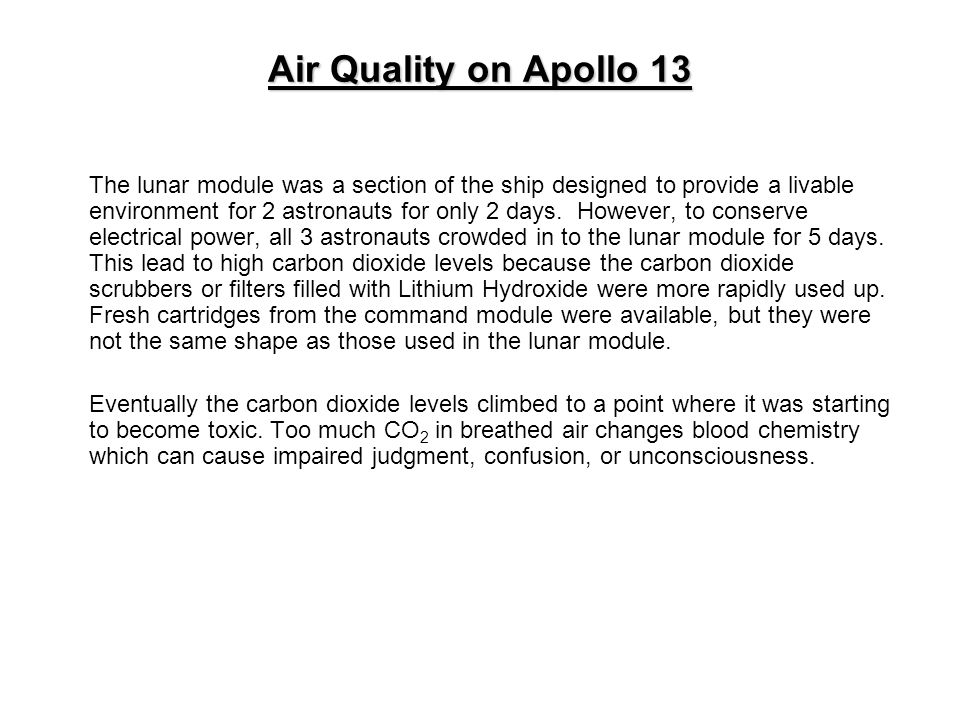 Air Quality on Apollo 13