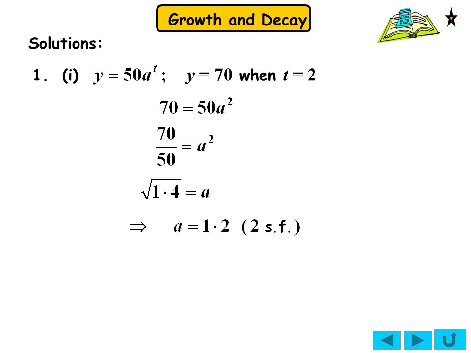 Solutions: 1. (i) y = 70 when t = 2
