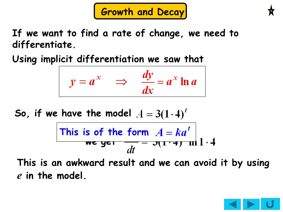 If we want to find a rate of change, we need to differentiate.