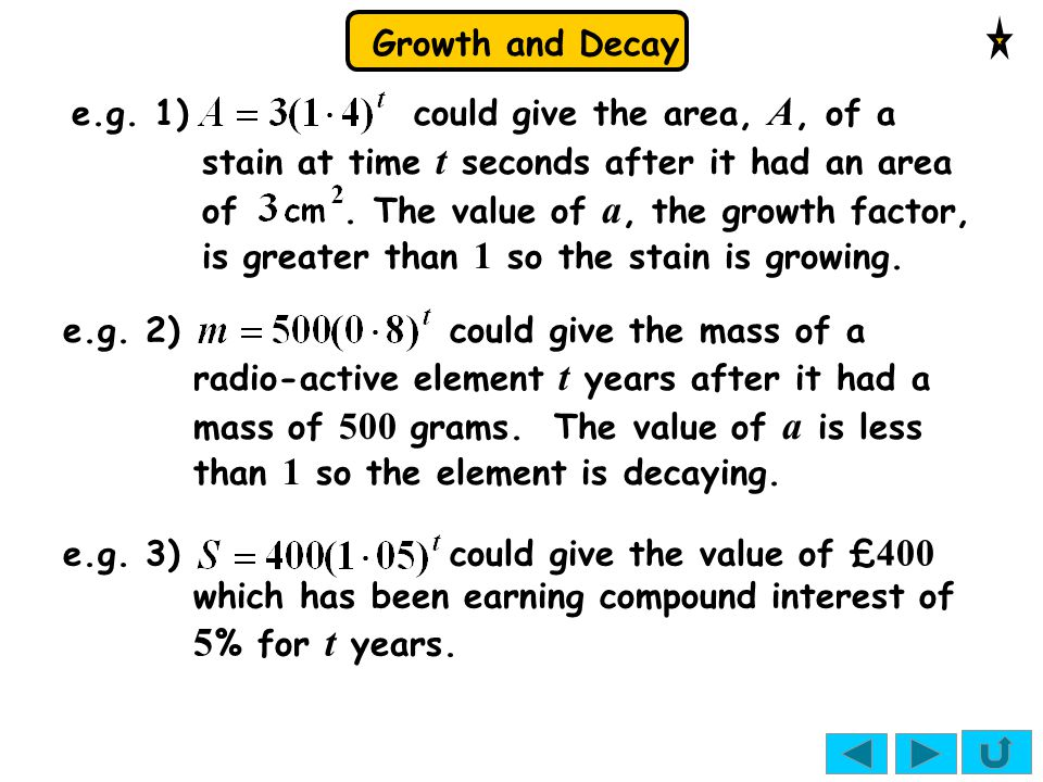 e.g. 1) could give the area, A, of a stain at time t seconds after it had an area of . The value of a, the growth factor, is greater than 1 so the stain is growing.