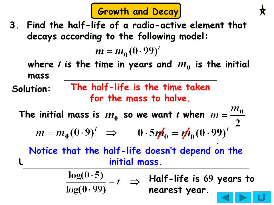 where t is the time in years and is the initial mass