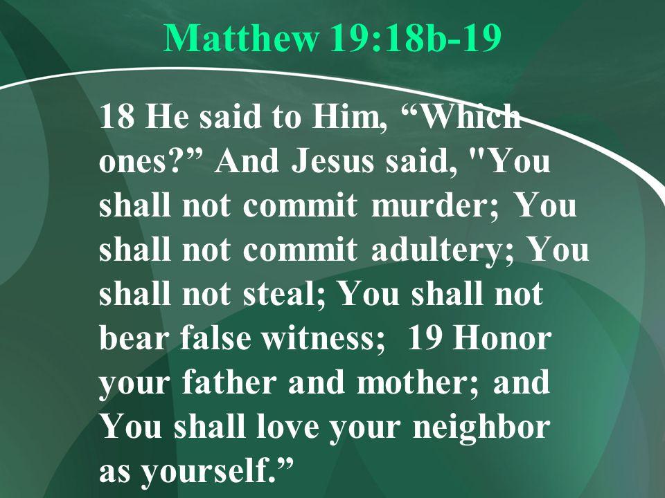 Matthew 19:18b-19