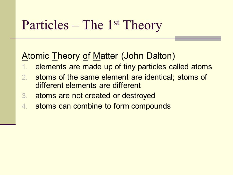 Particles – The 1st Theory