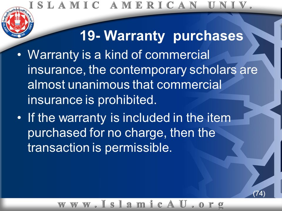 19- Warranty purchases