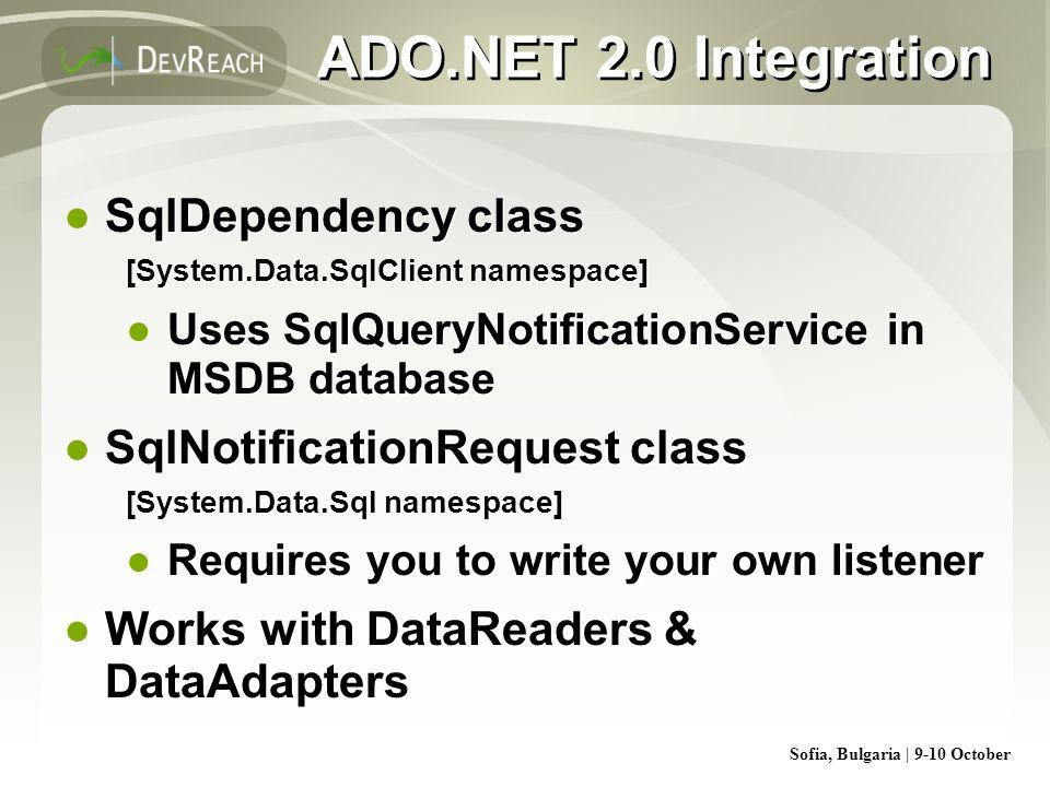 ADO.NET 2.0 Integration SqlDependency class