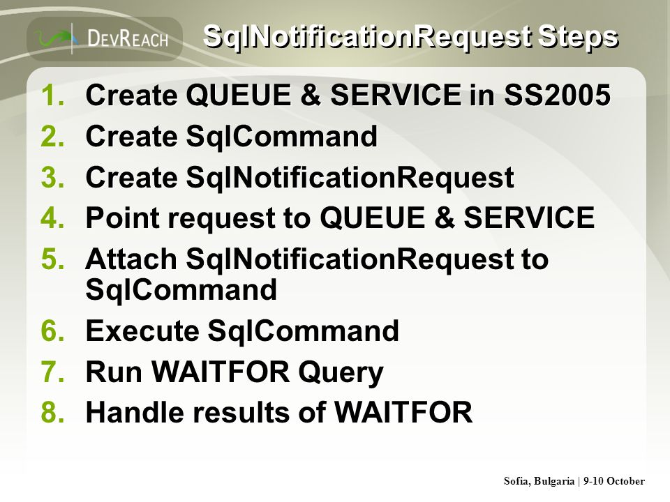 SqlNotificationRequest Steps