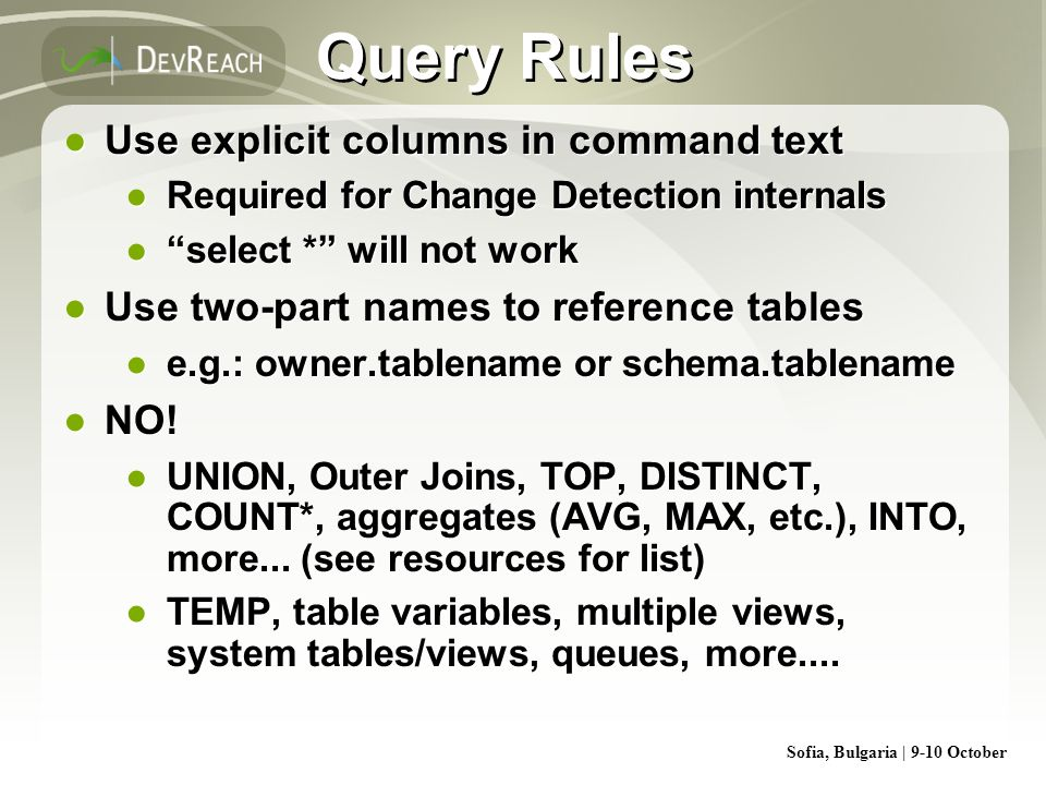 Query Rules Use explicit columns in command text