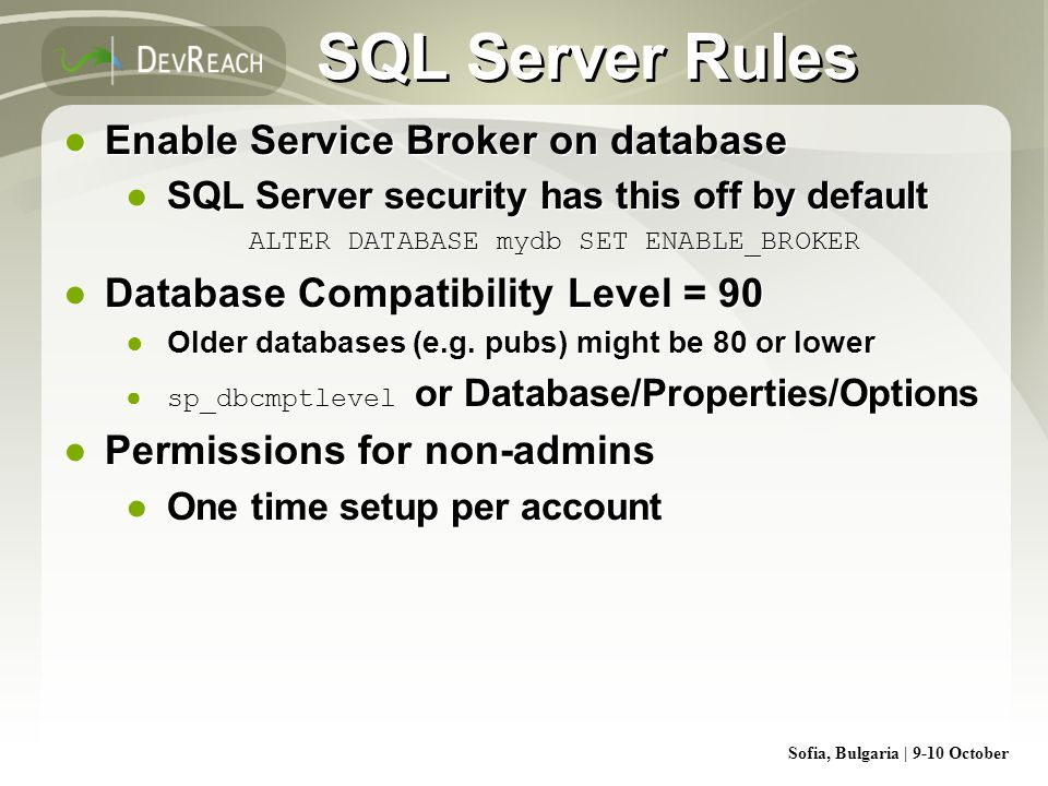 ALTER DATABASE mydb SET ENABLE_BROKER