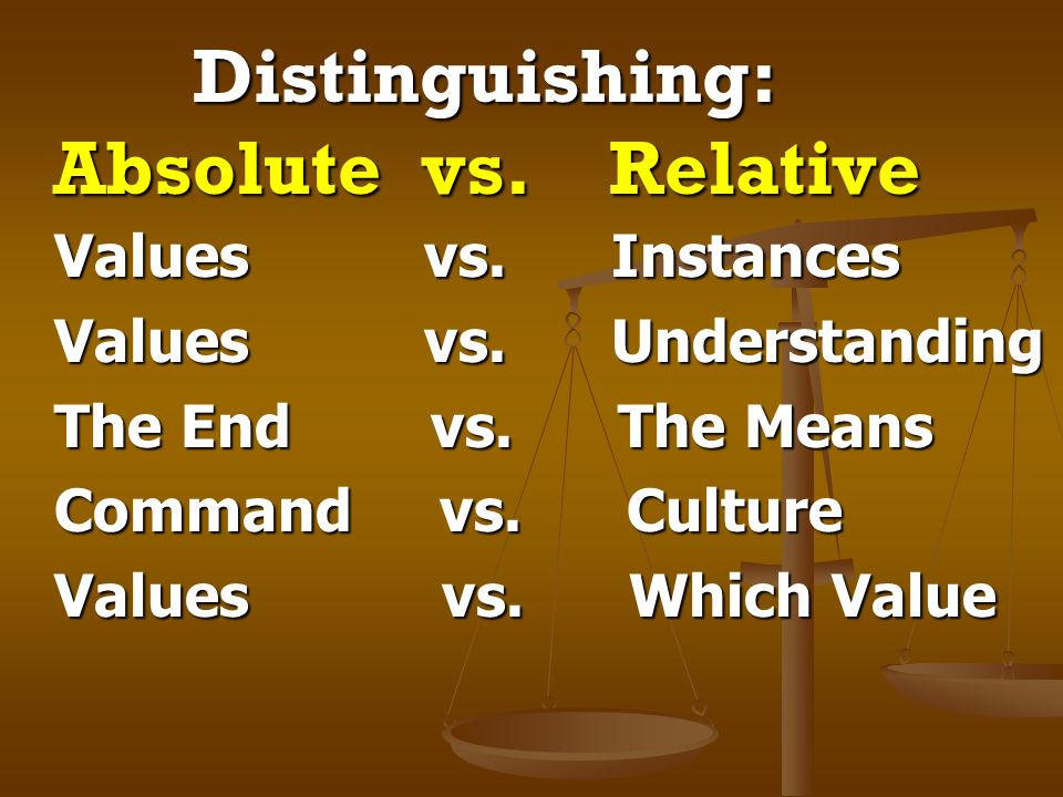 Distinguishing: Absolute vs. Relative
