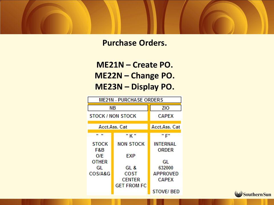 Purchase Orders. ME21N – Create PO. ME22N – Change PO